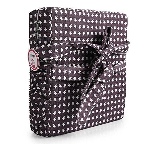 Zicac Sitzerhöhung Sterne Muster Tragbare Sitzerhöhung mit Seitentasche für Kinder Seat Pad