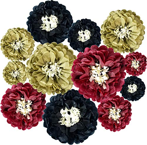 Red Gold Black Party Decoration Set Hanging Paper Flowers Decoration Paper Chrysanth Flowers Paper Flower Balls DIY Crafting for Wedding Birthday Anniversary Backdrop Wall Party Decoration12 Packs