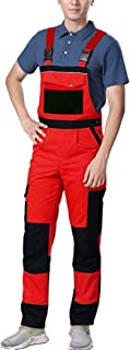 Elonglin Overalls Men's Work Trousers Knee Pad Dungarees Multi Pocket Bib and Brace Work Cargo Pants Winter Snow Salopettes