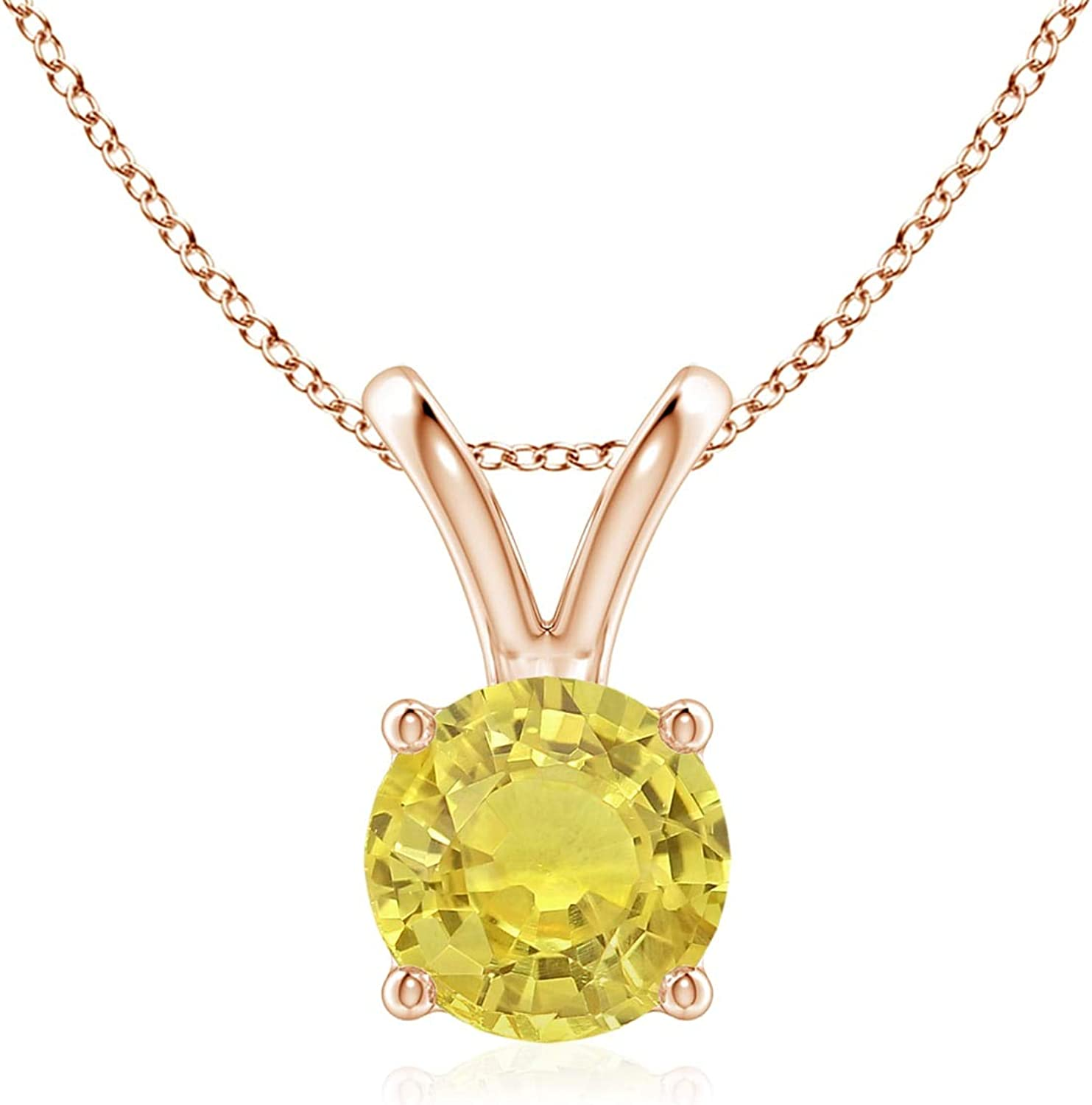 V-Bale Round Yellow Sapphire Solitaire 6mm Pendant Sapph High material Columbus Mall