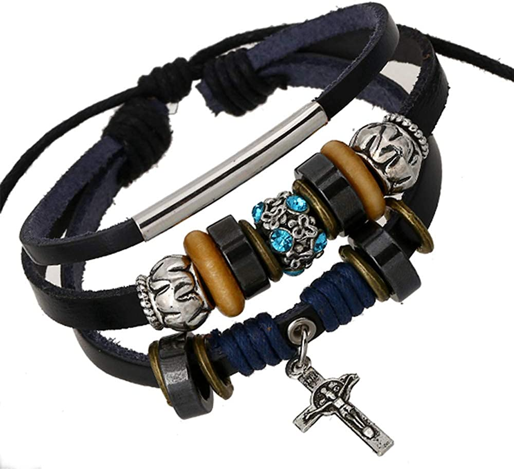 Multilayer Handmade Leather Charm Religious Bracelet Wrist Cuff Wristband for men and women ,Vintage Cross Beaded Braided Adjustable Wrap Cuff Bracelet 6-11.5 Inches