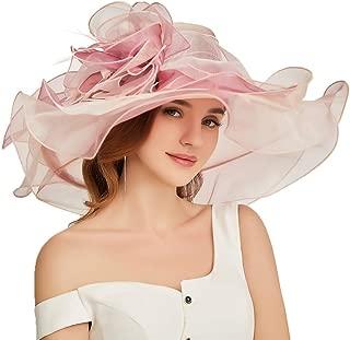 Women Oganza Sun Hat Church Kentucky Derby Wide Brim Wedding Formal Fascinator Hat
