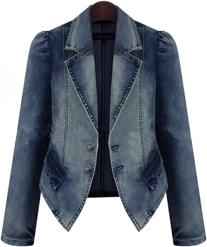 Bestor Fashion Vintage Women`s Long L Jeans Denim Blazers Sleeve Genuine Free Shipping Max 82% OFF