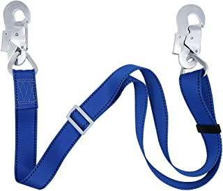 Zixar Fall Protection Lanyard,Safety Adjustable Non-Shock Absorbing Lanyard from 4-Feet to 6-Feet Outdoor Tree Climbing Belt Restraint Lanyards With Large Snap Hooks
