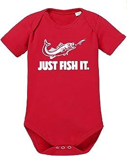 clothinx Baby-Body Bio Angler Sprüche Just Fish it