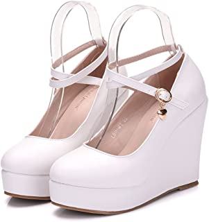 Women Wedges Heels Platform Wedges Pumps White Wedges Shoes Cross Tie Pumps for Wedding Party Club