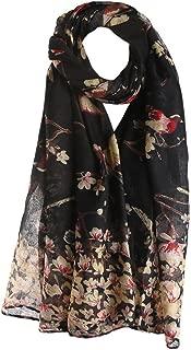 Clearance Silk Scarf for Women,WUAI Christmas Fashion Lotus Printed Long Scarf Warm Wrap Shawl