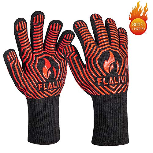 Flalivi BBQ Gloves, Heat/Fire Resistant Grilling Gloves, 1472°F Oven Gloves for Cooking, Kitchen, Smoker Baking, Barbecue, Fireplace, Welding, Cutting,Long Non-Slip Potholder Gloves,13 inch