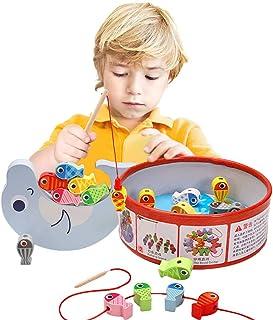 Arkmiido Juguete de Pesca Magnética de Madera Mesa, con 18 Peces , Juguete de Madera para niño ,Juego de Equilibrio, Cuent...
