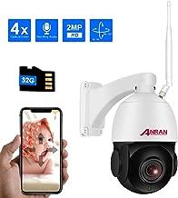 PTZ Cámara IP de Seguridad WiFi 1080P 4 X Zoom Óptico Enfoque Automático, ANRAN Cámara Domo de Vigilancia Interior Exterior Audio con Tarjeta Micro SD de 32GB, Panorámica de 355 ° Inclinación de 90 °