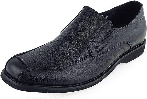 Herren Kleid Leder Loafer Runde Zehe Business Staple Schuhe (Farbe   Schwarz Größe   44 EU)