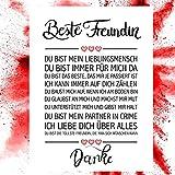 Close Up Beste Freundin Danke Zitate Poster - Deko Geschenk