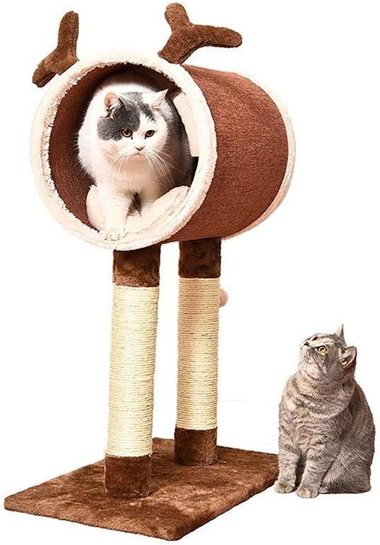 Jjek Pet Bed Cat Climbing Pet Toy, 3 In 1, Bean Sprouts Cute Design for Cat Nest (brown, Medium) 61x35x81.5cm