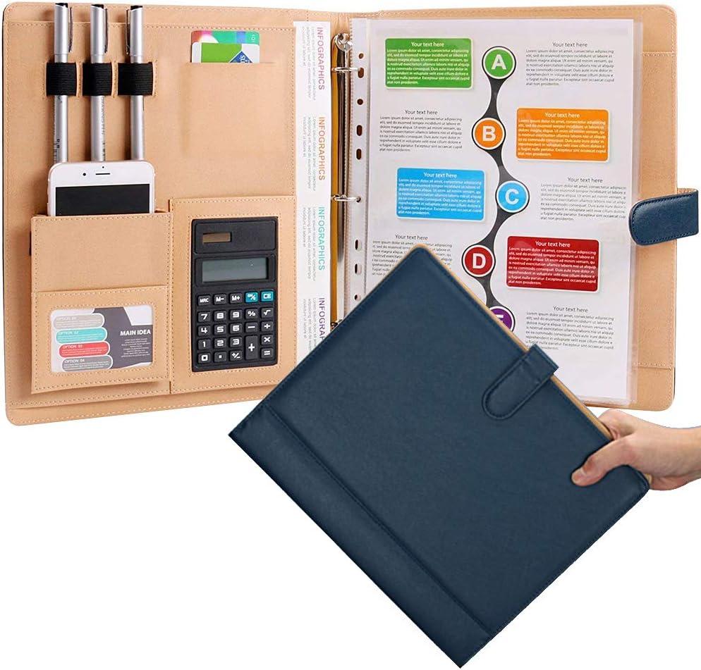Leather 3 Ring Padfolio with Calculator Blue Professional Portfolio Binder Organizer Briefcase Personalized Document Folder : Everything Else