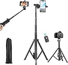 Smartphone Selfie Stick Tripod,Rimposky 137cm Extendable Phone Stand with Bluetooth Remote,Portable Tripod Mount,Compatible with iPhone & Android