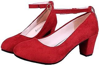[ワン アンブ] ベルト付き 太ヒール 歩きやすい 履きやすい スエード フォーマル フェミニン ハイヒール レディース