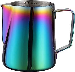 Milk Pitcher, Espresso Steaming Pitcher, Coffee Milk Frother Jug Cup, Coffee Steaming Pitcher 600ml, with the measurement ...