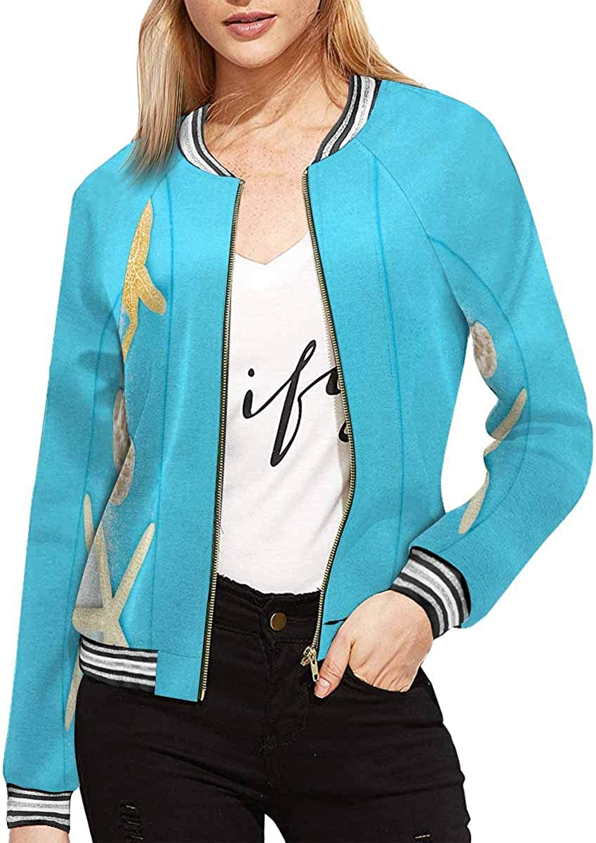 InterestPrint Women's Starfish in Blue Water with Light Reflection Stand Collar Long Sleeve Jacket