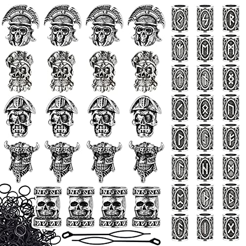 Lykoow 44 Pieces Viking Beard Beads, Dreadlocks Viking Jewelry Beads for Hair Braids, Antique Norse Braid Accessories for Bracelet Pendant Necklace Silver DIY Jewelry Hair Decoration(Pirate)