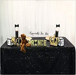 SoarDream Sequin Fabric 50inx50in Black Sequin Tablecloth Overlay for Wedding Birthday Christmas Banquet Tables