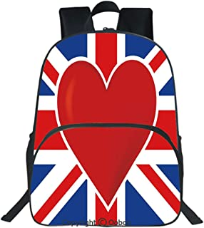 Oobon Kids Toddler School Waterproof 3D Cartoon Backpack, British Flag with a Big Red Heart in Center Nationality Pride Concept Decorative, Fits 14 Inch Laptop