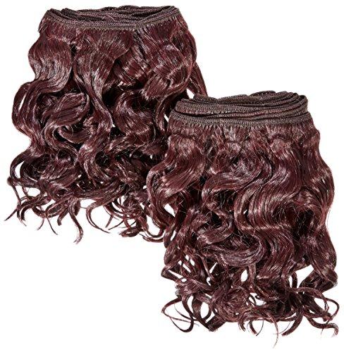 chear espagnol Wave 2 en 1 trame Extension de cheveux humains avec de mélange tissage Nombre 99J, vin profond Bordeaux 20 cm