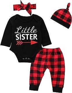 Borlai 4Pcs Baby Girl Little Sister Rose Flower Outfits