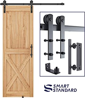 "SMARTSTANDARD 5 FT Heavy Duty Sturdy Sliding Barn Door Hardware Kit, 5FT Single Rail, Black, (Whole Set Includes 1x Pull Handle Set & 1x Floor Guide) Fit 30"" Wide Door Panel (I Shape Hanger)"