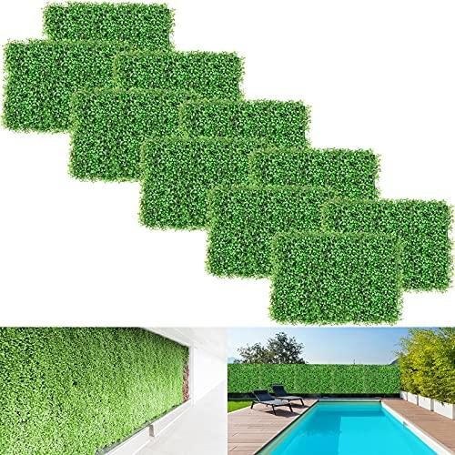 VEVOR Künstliche Buchsbaum-Paneele, Buchsbaum-Hecke, Wandpaneele, Kunstrasen-Hintergrund, 4,1 cm, UV-Schutz, für den Innen- und Außenbereich, 10 Stück