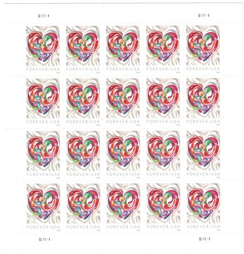 USPS Quilled Paper Heart Scott 5036 Forever 2016 Postage Stamps, Sheet of 20