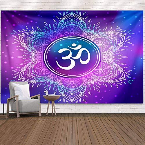 Wandteppich Psychedelic Mandala Wandbehang Indische Geometrie Nebel Sterne Wandteppiche Tagesdecke Wandtuch Stranddecke Teppich Schlafzimmer Wohnzimmer Wohnheim Wanddeko Yoga Meditation 230 * 180cm