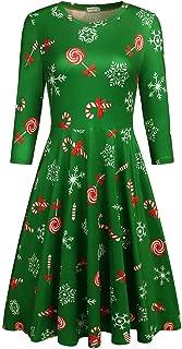 Qearal Womens Ugly Christmas Xmas Dress 3/4 Sleeve Casual Aline Midi Party Dress