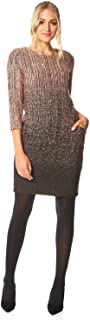 Roman Originals - Vestido Degradado con Textura para Mujer, 35% algodón, Cuello Redondo, Manga 3/4, diseño de Bolsillo Lateral, Trabajo, Formal, otoño, Invierno, Navidad, Fiesta de Navidad