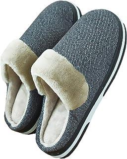 LQLD Chaussures Grande Taille Accueil Extra, Les Hommes Non-Slip Hiver Au Chaud avec Chaussons TPR Matériel,Gris,49/50