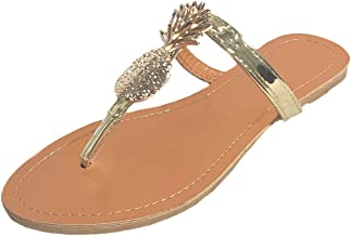 MONOBLANKS Women's Flat Thong Sandals with Gold Pineapples Metallic Straps,Classic Casual Flip-Flops Design Slipper