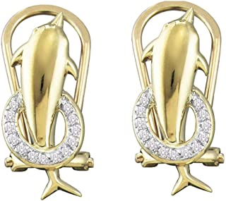 10K Yellow and White Two Tone Gold Channel Set Round Diamond Dolphin Hoop Earrings - (.08 cttw)