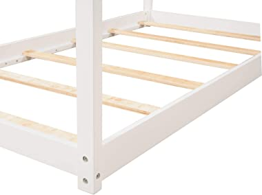 House Bed Twin Bed with Roof, Kids House Twin Bed Frame, No Box Spring Needed (White)