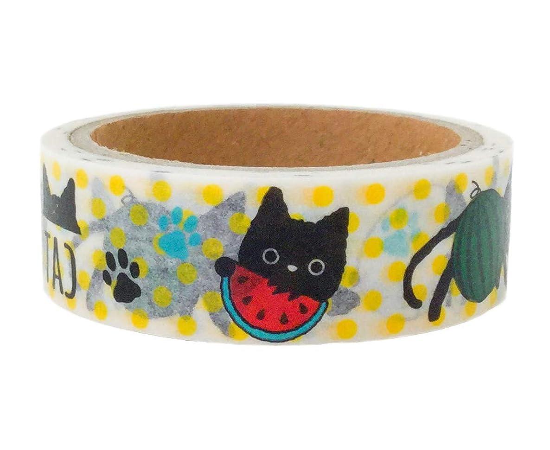 Black Cat Decorative Tape Washi Masking Tape Scrapbooking DIY Crafts Gift Wrapping White Rad Black 0.6×236