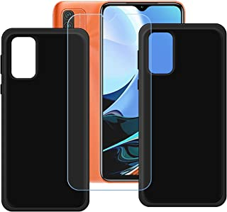 FZZ Case for Redmi 9 Power + Tempered Glass Screen Protector Protective Film,2 Pack Slim Black Soft Gel TPU Silicone Prote...