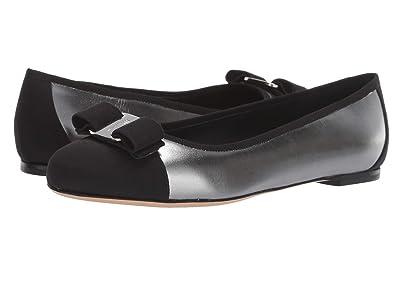 Salvatore Ferragamo Varina Ballet Flat w/ Bow (Silver/Black) Women