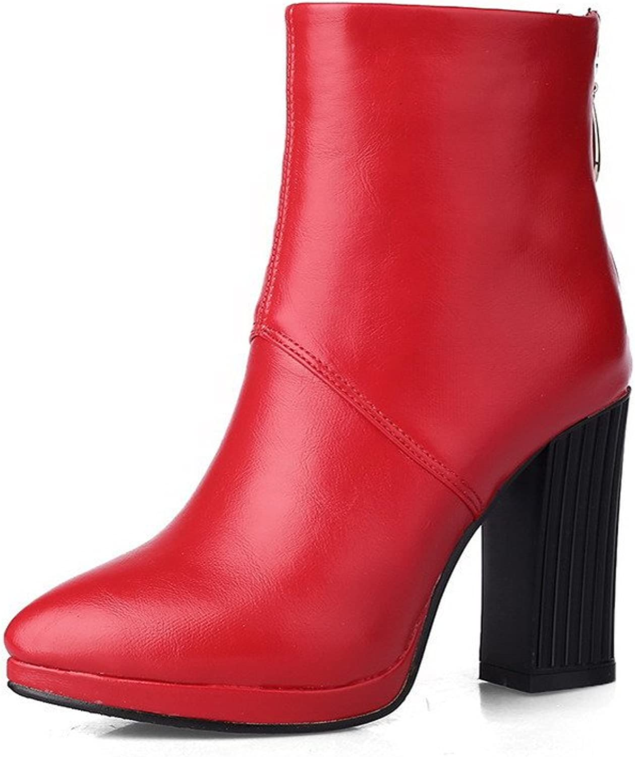 WeenFashion Women's Pointed Closed Toe Solid Low Top High Heels Boots