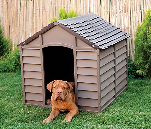 Large Heavy Duty Plastic Dog Kennel Pet Shelter PLASTIC DURABLE OUTDOOR - color Brown