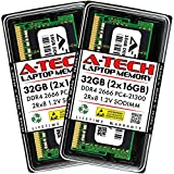 A-Tech 32GB (2x16GB) DDR4 2666MHz SODIMM PC4-21300 2Rx8 Dual Rank 260-Pin CL19 1.2V Non-ECC Unbuffered Notebook Laptop RAM Memory Upgrade Kit