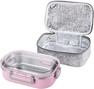 Lille Home 22oz Stainless Steel Leakproof Lunch Box, Insulated Bento Box/Food Container with Insulated Lunch Bag, Durable Handles and Lid, Adults, Men, Women (Pink)
