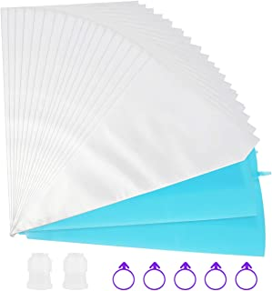 Kootek 109 Pack Pastry Bags Sets Thickened 16 Inch 100 Disposable Icing Piping Bags 2 Reusable Silicone Bags 2 Plastic Couplers with 5 Bag Ties for Cupcake, Cookies and Frosting Cake Decorating Supply