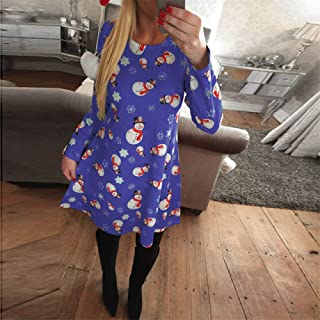 FDBZ Autumn Winter Women Chrismas Clothes Long Sleeve O Neck Christmas Tree Snowman Print Slim Dress Knee Length Dress Black |Dresses,0186 Blue,4XL
