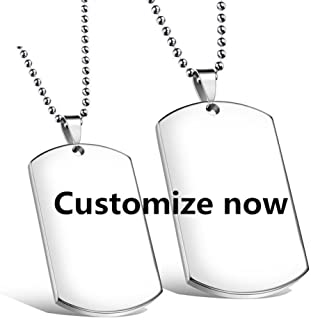 Comfybuy CF Free Engarving Custom Blank Dog Tag Military Necklace for Women Men Stainless Steel Couple Nameplate Message ID Pendant for Girlfriend,Boyfriend,Wife,Husband Best Jewelry