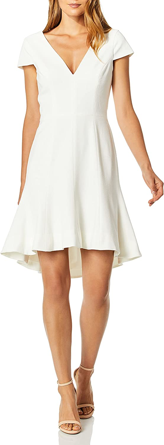 Dress the Population Women's Bettie Sleeve Plunging Fit & Flare Short Dress, Off White, L