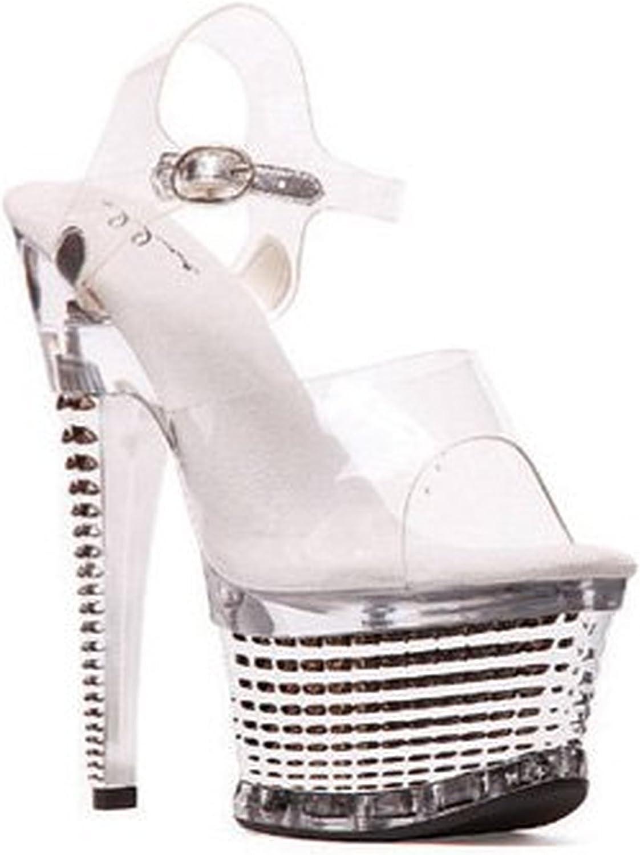 Ellie skor - 6 pouces de skor, skor, skor, skor transparentes, lacets de cheville, plates - formes texturées de 2 pouces (transparent   silveré; 8)  bra priser