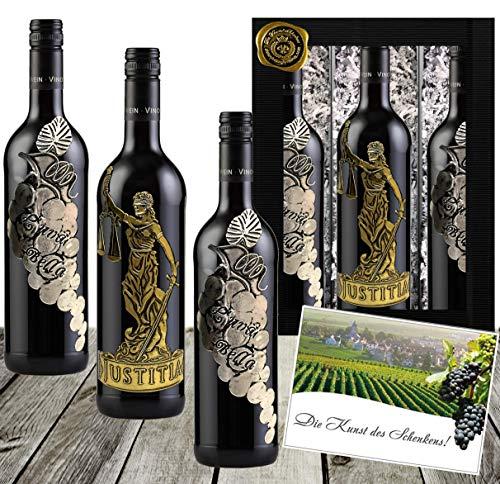 Götter & Reben Weingeschenk Italien Cabernet Sauvignon & Cuvée aus Primitivo, Sangiovese & Merlot Rotwein Geschenk 3 Flaschen Waage Anwalt
